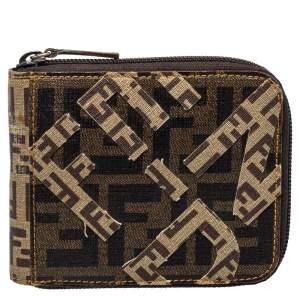 Fendi Brown/Beige Zucchino Canvas Zip Around Compact Wallet