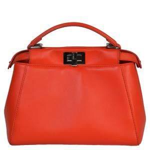 Fendi Orange Leather Mini Peekaboo Bag
