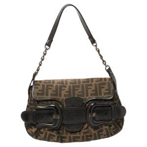 Fendi Tobbaco Zucca Canvas and Leather B Bis Shoulder Bag