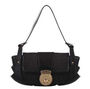 Fendi Black Canvas Fabric Compilation Shoulder Bag