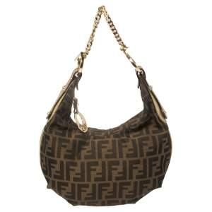 Fendi Tobacco/Gold Zucca Canvas and Leather Small Chef Chain Link Hobo