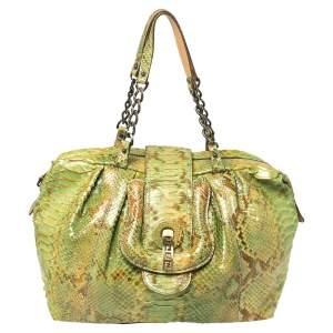 Fendi Green/Beige Python B Shoulder Bag