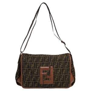 Fendi Tobacco Zucca Canvas and Leather Flap Messenger Bag