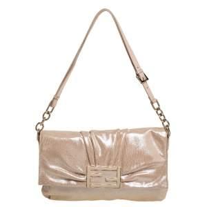 Fendi Peach Shimmer Leather Mia Flap Shoulder Bag
