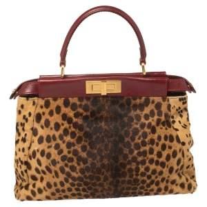 Fendi Brown/Burgundy Calf Hair and Leather Medium Peekaboo Top Handle Bag