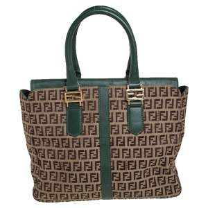 Fendi Green/Brown Zucchino Canvas and Leather Tote
