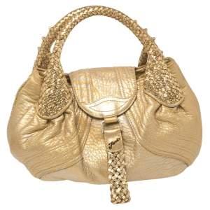 Fendi Gold/Silver Leather Mini Spy Bag