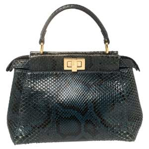Fendi Navy Blue Python Mini Peekaboo Top Handle Bag