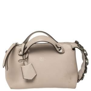 Fendi Beige Leather Crystal Embellished Mini By The Way Crossbody Bag