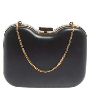 Fendi Black Leather Giano Chain Clutch