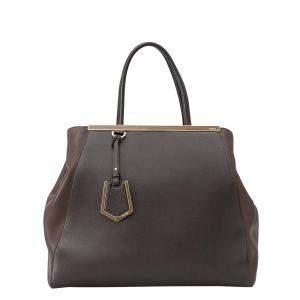 Fendi Brown/Dark Brown Leather Large 2Jours Bag