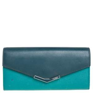 Fendi Two Tone Green Leather 2Jours Continental Wallet