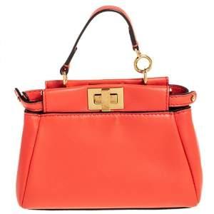 Fendi Orange Leather Micro Peekaboo Crossbody Bag