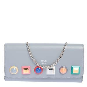 Fendi Stone Blue Leather Studded Flap Wallet On Chain