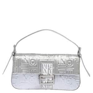 Fendi Silver Logo Embossed Fabric Baguette