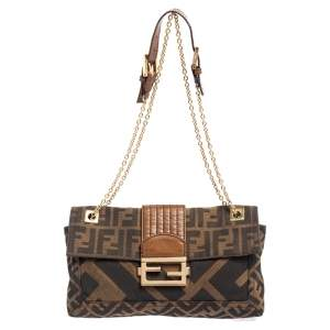 Fendi Brown Zucca Canvas and Leather Chain Shoulder Bag