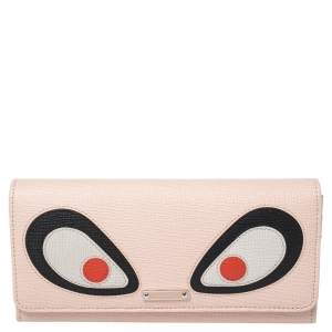 Fendi Beige Leather Monster Eye Elite Continental Wallet