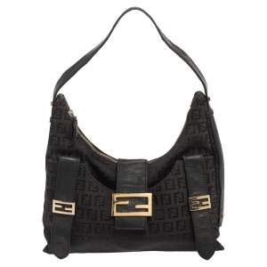 Fendi Brown Zucchino Canvas and Leather Flap Hobo