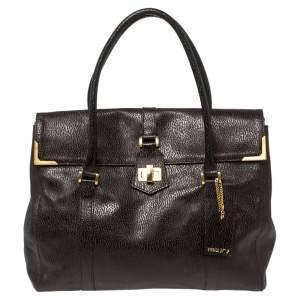 Fendi Mocha Brown Textured Leather Linda Tote