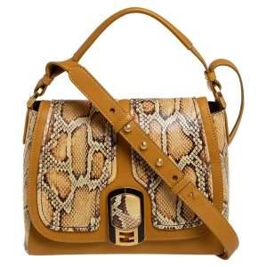 Fendi Mustard/Brown Python And Leather Silvana Top Handle Bag