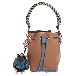 Fendi Tan/Blue Leather Mini Mon Tresor Drawstring Bucket Bag