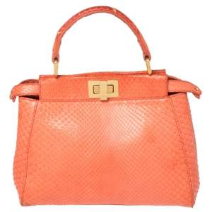Fendi Coral Python Mini Peekaboo Top Handle Bag