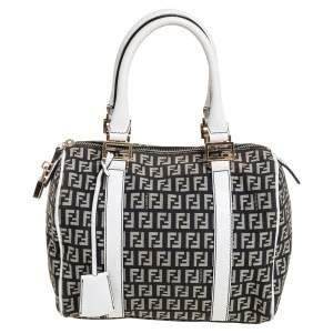 Fendi Black/White Canvas And Leather Forever Bauletto Boston Bag
