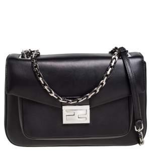 Fendi Black Leather Be Baguette Camera Crossbody Bag