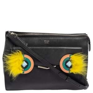 Fendi Black Leather/Fox Fur and Elaphe Ayers Mini Hypnoteyes 2Jours Crossbody Bag