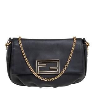 Fendi Black Leather Fendista Chain Shoulder Bag