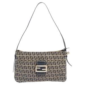 Fendi Navy Blue/Grey Zuchinno Canvas and Leather FF Zip Shoulder Bag