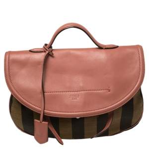 Fendi Pink/Tobacco Pequin Canvas and Leather Medium Top Handle Bag