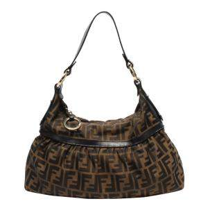 Fendi Brown Leather Fabric Zucca Shoulder Bag