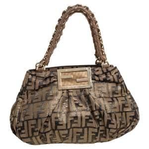 حقيبة يد توتس فندي ميا قماش زوكا توباكو/ذهبي صغيرة