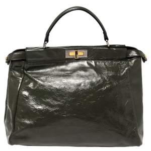 Fendi Dark Grey Crinkled Patent Leather Large Peekaboo Top Handle Bag