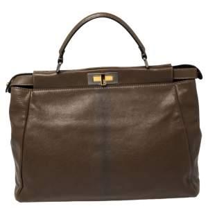 Fendi Brown Leather Large Peekaboo Top Handle Bag