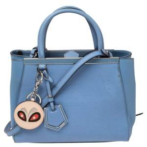 Fendi Blue Leather Small 2Jours Tote