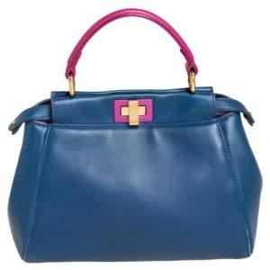 Fendi Blue/Pink Leather Mini Peekaboo Top Handle Bag