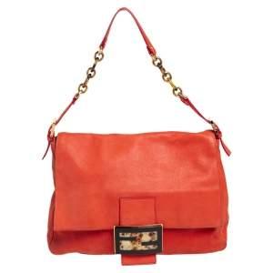 Fendi Orange Shimmer Leather Mama Forever Shoulder Bag