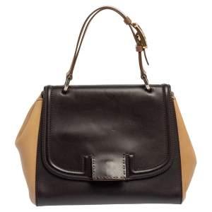 Fendi Beige/Brown Leather Silvana Top Handle Bag