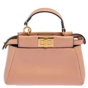Fendi Baby Pink Leather Micro Peekaboo Crossbody Bag