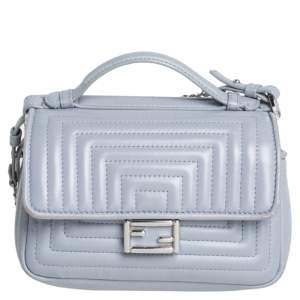 Fendi Grey Quilted Leather Micro Double Baguette Bag