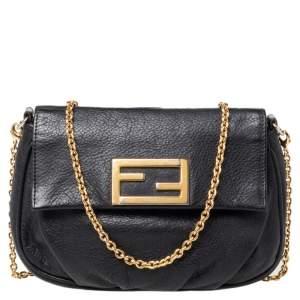 Fendi Black Leather Fendista Shoulder Bag