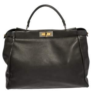 Fendi Black Leather Beads Lining Large Peekaboo Top Handle Bag