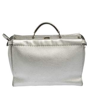 Fendi Silver Selleria Leather Large Peekaboo Top Handle Bag