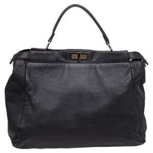 Fendi Black Leather Peekaboo Top Handle Bag