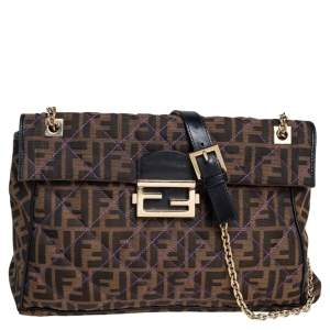 Fendi Tobacco Quilted Zucca Canvas and Leather Maxi Baguette Flap Shoulder Bag