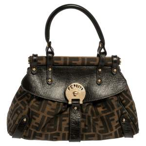 Fendi Tobacco Zucca Canvas And Leather Small Magic Top Handle Bag