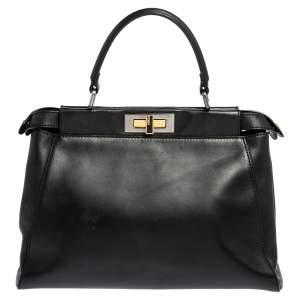 Fendi Black Leather Medium Peekaboo Top Handle Bag