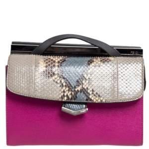 حقيبة كتف فندي ميني ديمي جور جلد وجلد ثعبان متعددة الألوان